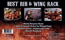 "Load image into Gallery viewer, Best Rib and Wing Rack for 18"" Grills or Larger - Ribs on 1 Side, Turn Over & Cook 36 Wings or 10 Legs, Multi-Purpose Rack"
