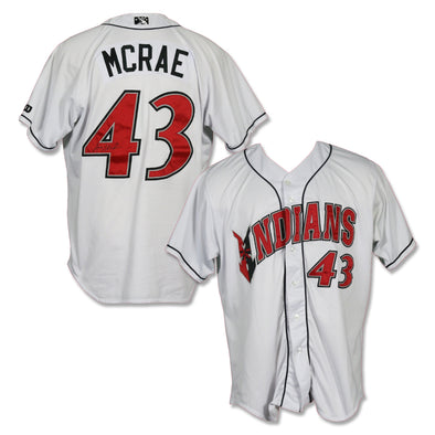 Indianapolis Indians #43 Alex McRae Autographed Game Worn Home Jersey