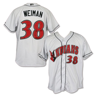 Indianapolis Indians #38 Blake Weiman Autographed Game Worn Home Jersey