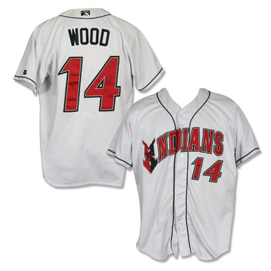 Indianapolis Indians #14 Eric Wood Autographed Game Worn Home Jersey