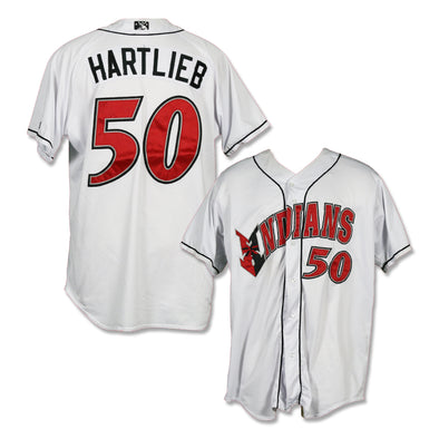 Indianapolis Indians #50 Geoff Hartlieb Game Worn Home Jersey