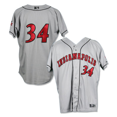 Indianapolis Indians #34 Brandon Waddell Game Worn Road Jersey