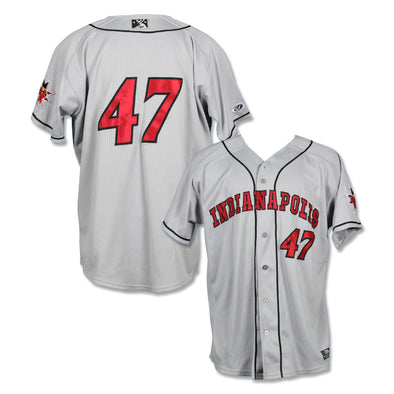 Indianapolis Indians #47 Elvis Escobar Game Worn Road Jersey
