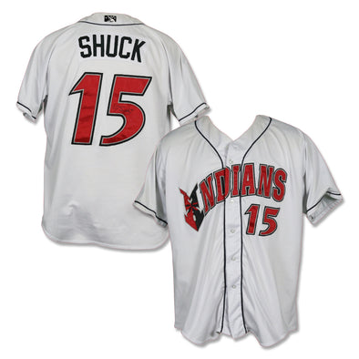 Indianapolis Indians #15 JB Shuck Autographed Game Worn Home Jersey