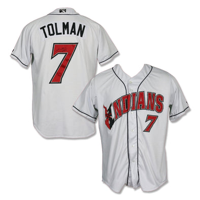 Indianapolis Indians #7 Mitchell Tolman Autographed Game Worn Home Jersey