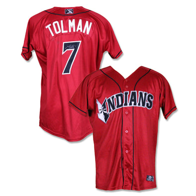 Indianapolis Indians #7 Mitchell Tolman Autographed Game Worn Red Alternate Jersey