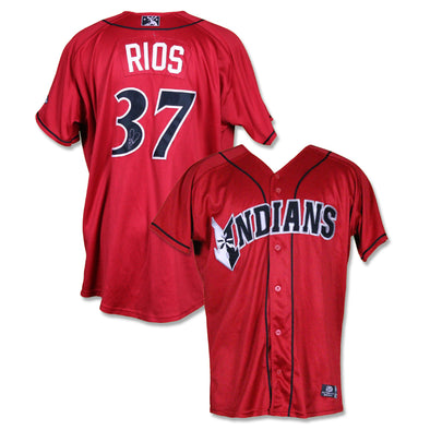 Indianapolis Indians #37 Yacksel Rios Autographed Game Worn Red Alternate Jersey