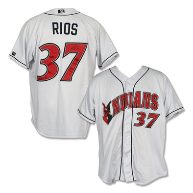 Indianapolis Indians #37 Yacksel Rios Autographed Game Worn Home Jersey