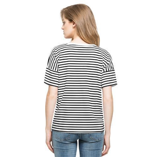 Indianapolis Indians '47 Women's White Wash Coed Striped Scoop Tee