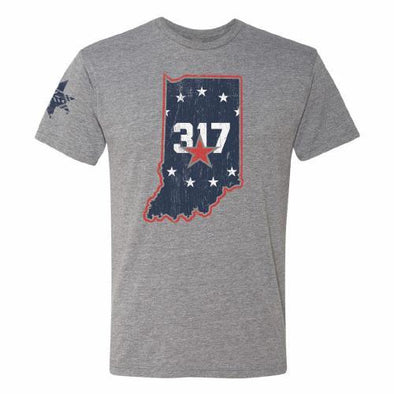 Indianapolis Indians Circle City Indians Heather Grey State Tee