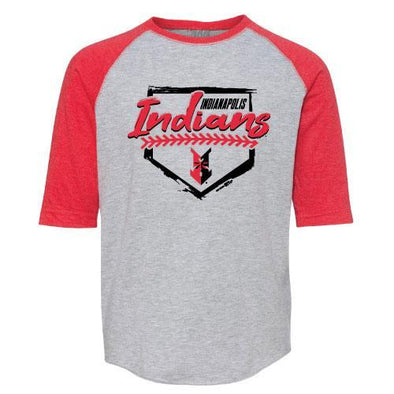 Indianapolis Indians Toddler Grey/Red 3/4 Sleeve Creek Tee
