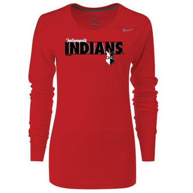 Indianapolis Indians Women's Red Inlet Longsleeve Nike Dri-FIT Tee