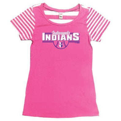 Indianapolis Indians Youth Pink/White Striped Tee