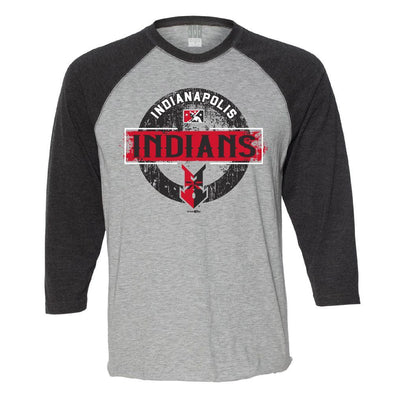 Indianapolis Indians Heather/Black Extra 3/4 Sleeve Tee