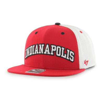 Indianapolis Indians '47 Red/White/Black Side Kick Captain Snapback Adjustable Cap