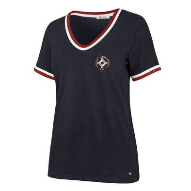 Indianapolis Indians '47 Women's Navy Bedford Letter V-Neck Tee