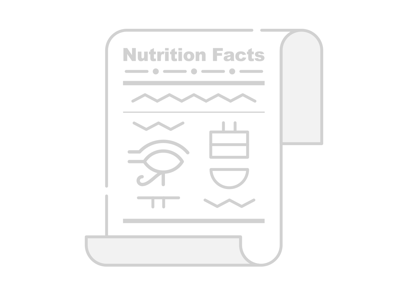 An illustration of a nutrition label in hieroglyphics, showing that nutrition labels can be extremely confusing