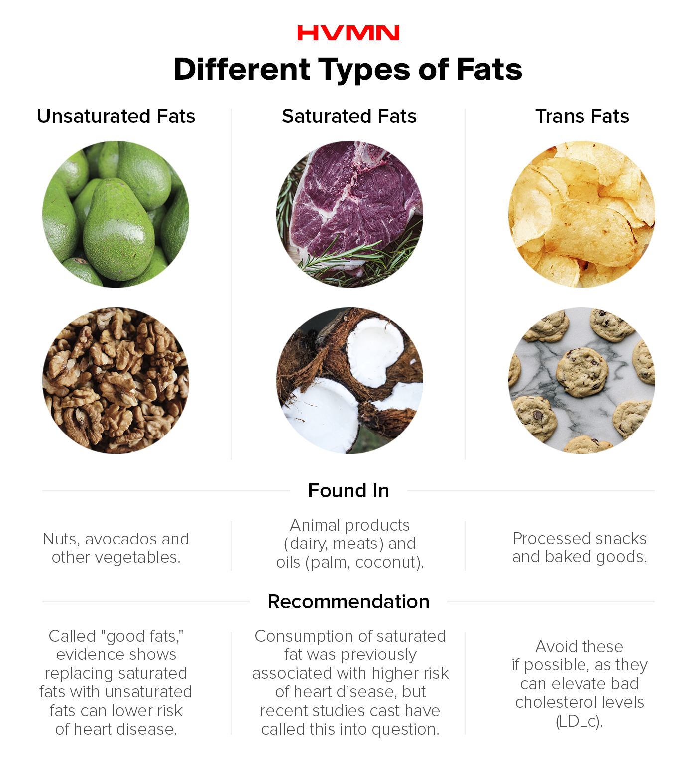 Images of the different kinds of fats: avocados, nuts, steak and coconut. And the bad kinds of trans fat, chips and cookies.