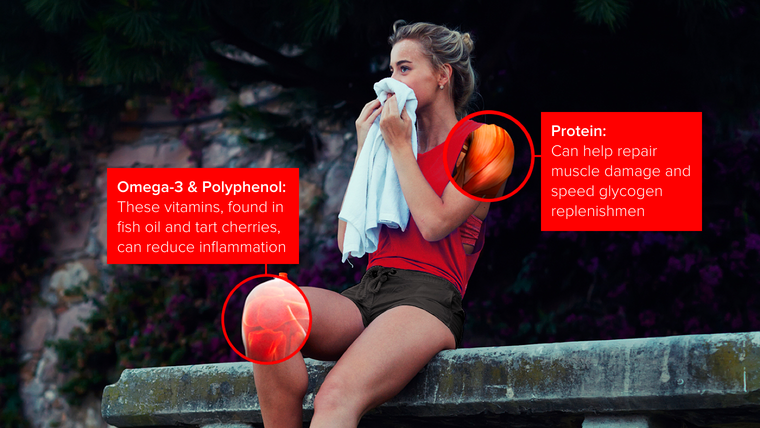 An image of a female runner on a bench. Her knee is highlighted, showing omega-3 and polyphenols can reduce inflammation. Her shoulder is highlighted to showcase protein can help repair muscle damage.