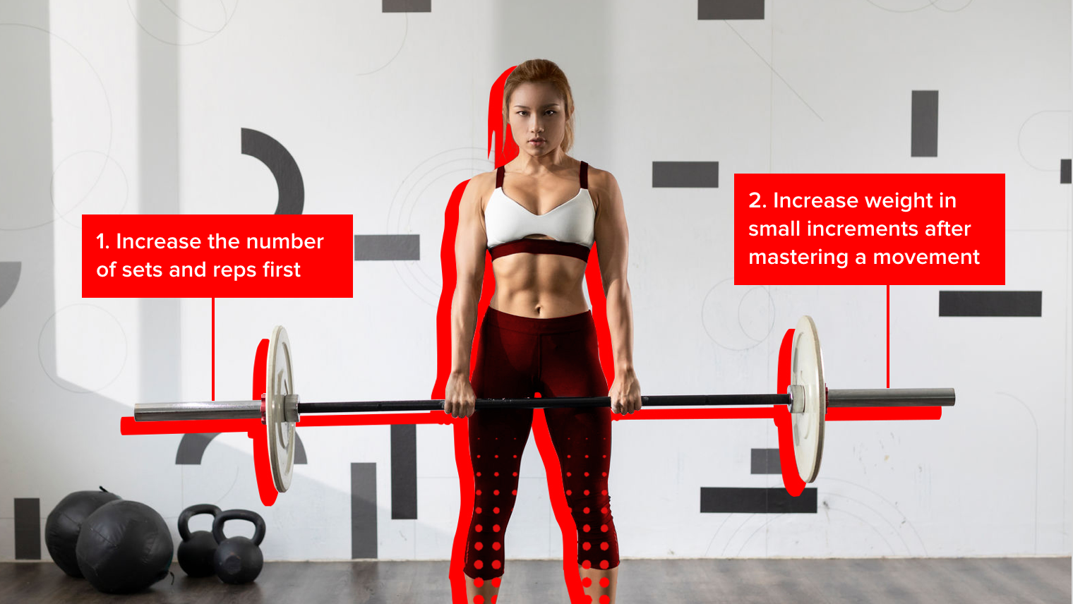 A woman lifting a barbell using overload training, which states that lifters should first increase the number of sets and reps, then increase the weight when the movement has been mastered