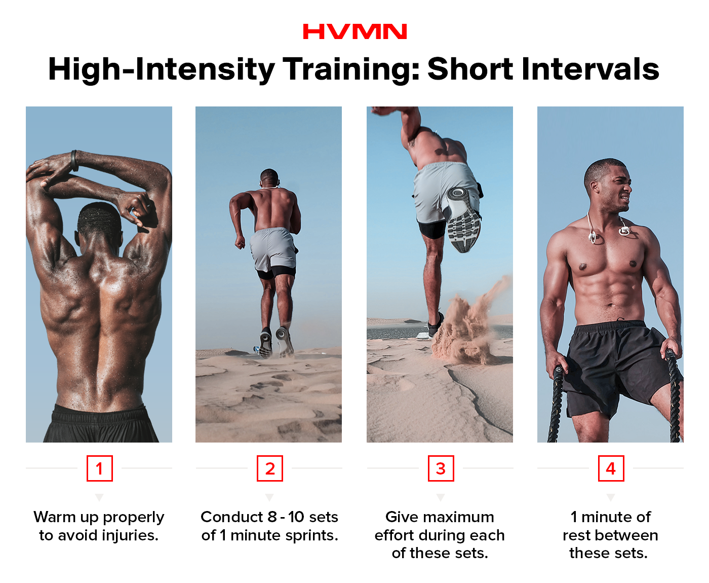 A high-intensity guide to increasing VO2 max with short intervals. A male runners shows these steps, which include short sprints with short rests in between.