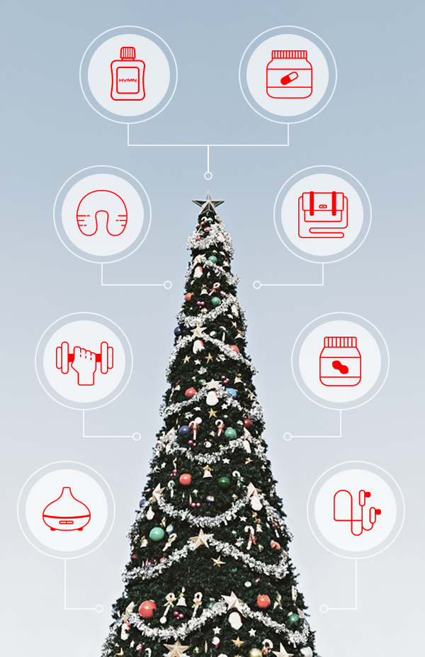 A Christmas tree with icons of all the different gifts from our HVMN Holiday Gift Guide