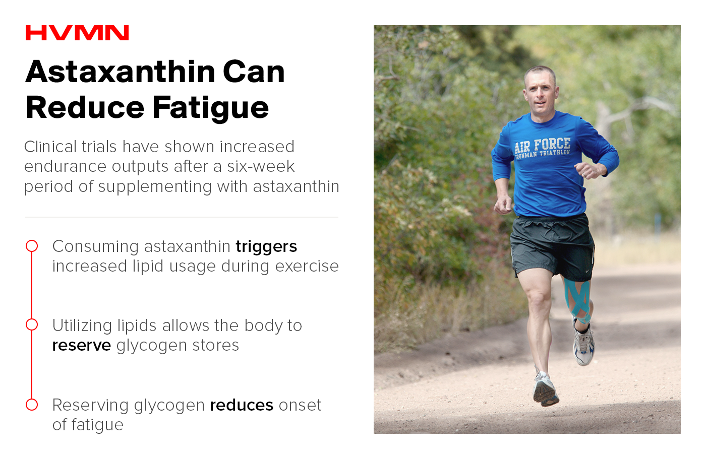 A man running on a trail showing astaxanthin can reduce fatigue.