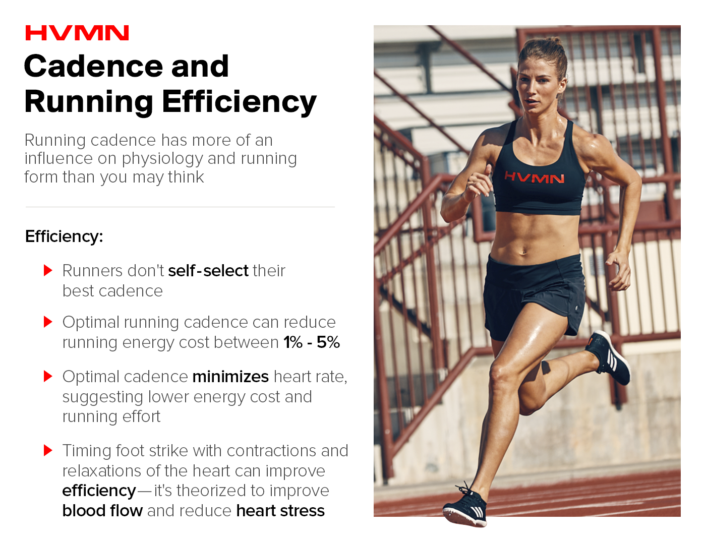 A female runner on the track sprinting, showing how running cadence can affect running economy