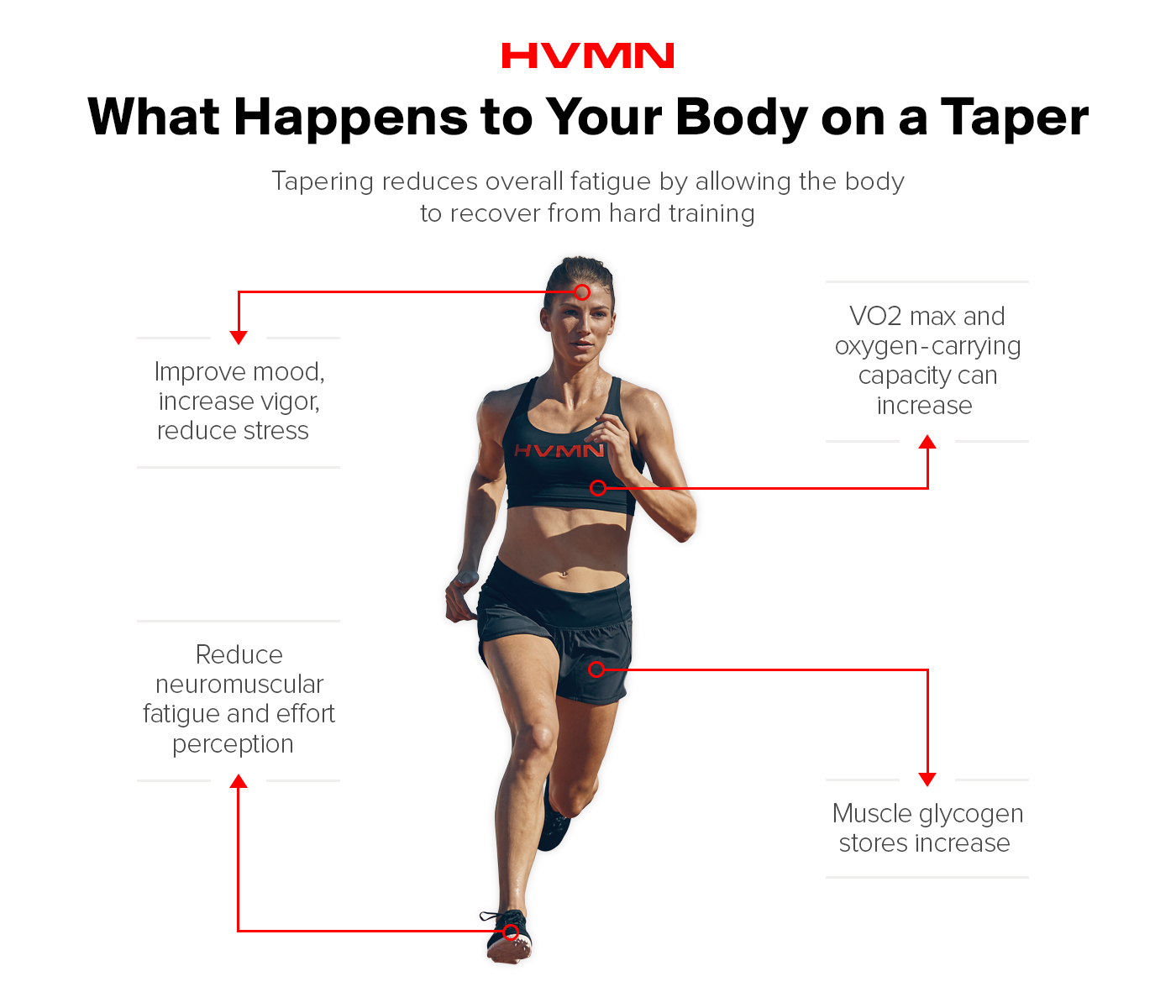 An image of a female runner in stride, showing what happens to the body while tapering