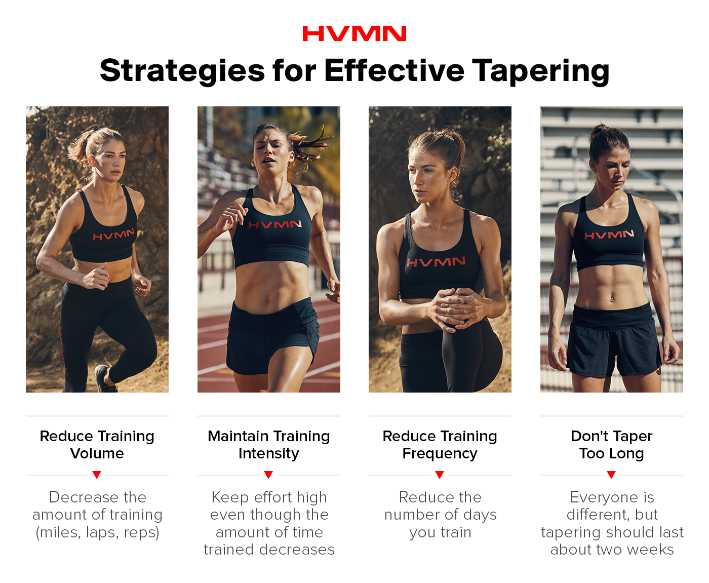 A female runner through for different strategies for tapering: she is running uphill in the first image, sprinting in the second, stretching in the third and resting in the fourth