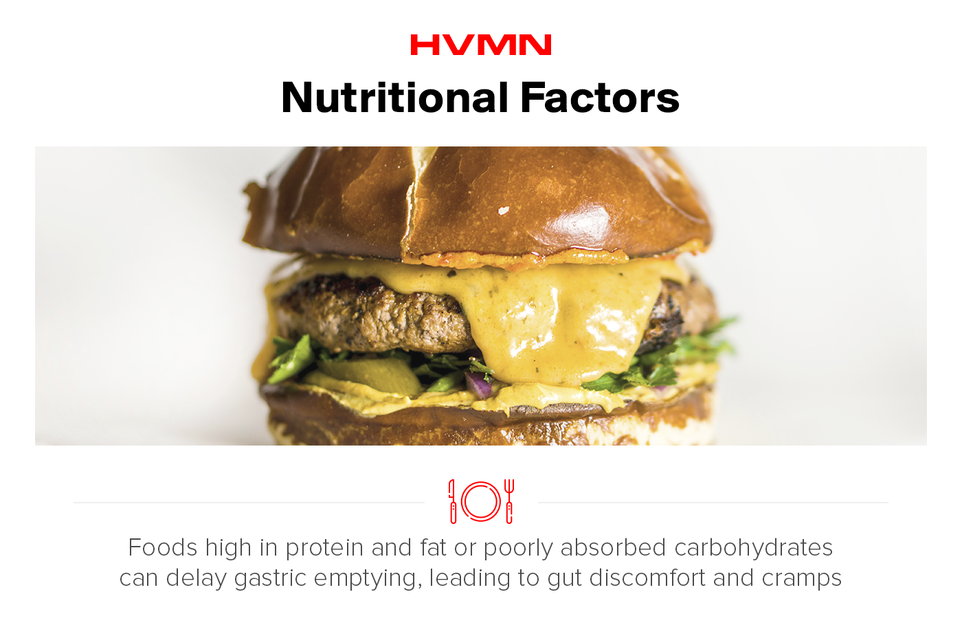 """This image is of a large cheeseburger. The title is """"nutritional factors"""". Under the image it says that foods high in protein and fat or poorly absorbed carbohydrates can delay gastric emptying, leading to gut discomfort and cramps."""