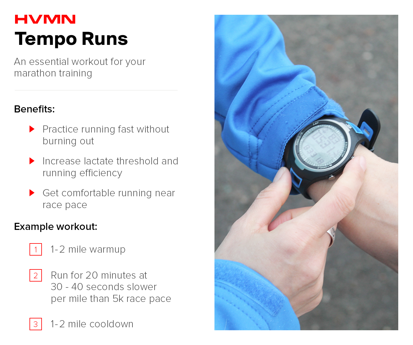 A woman checking her wrist watch, representing how to do a tempo run