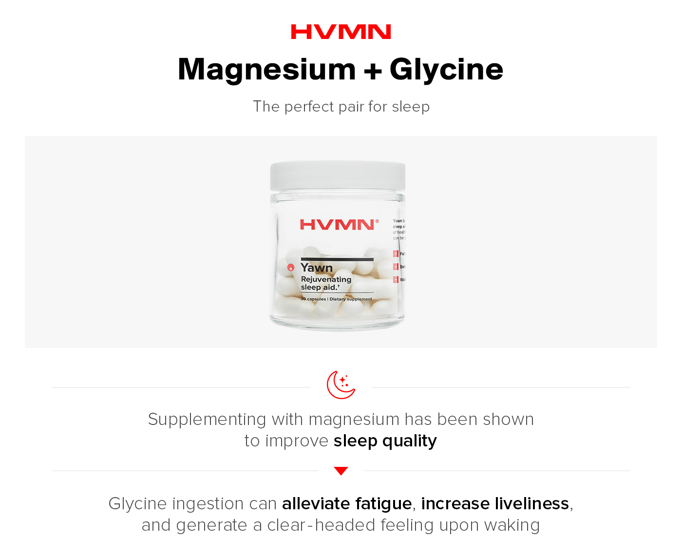 An image of Yawn by HVMN, showing how magnesium and glycinate together help you sleep