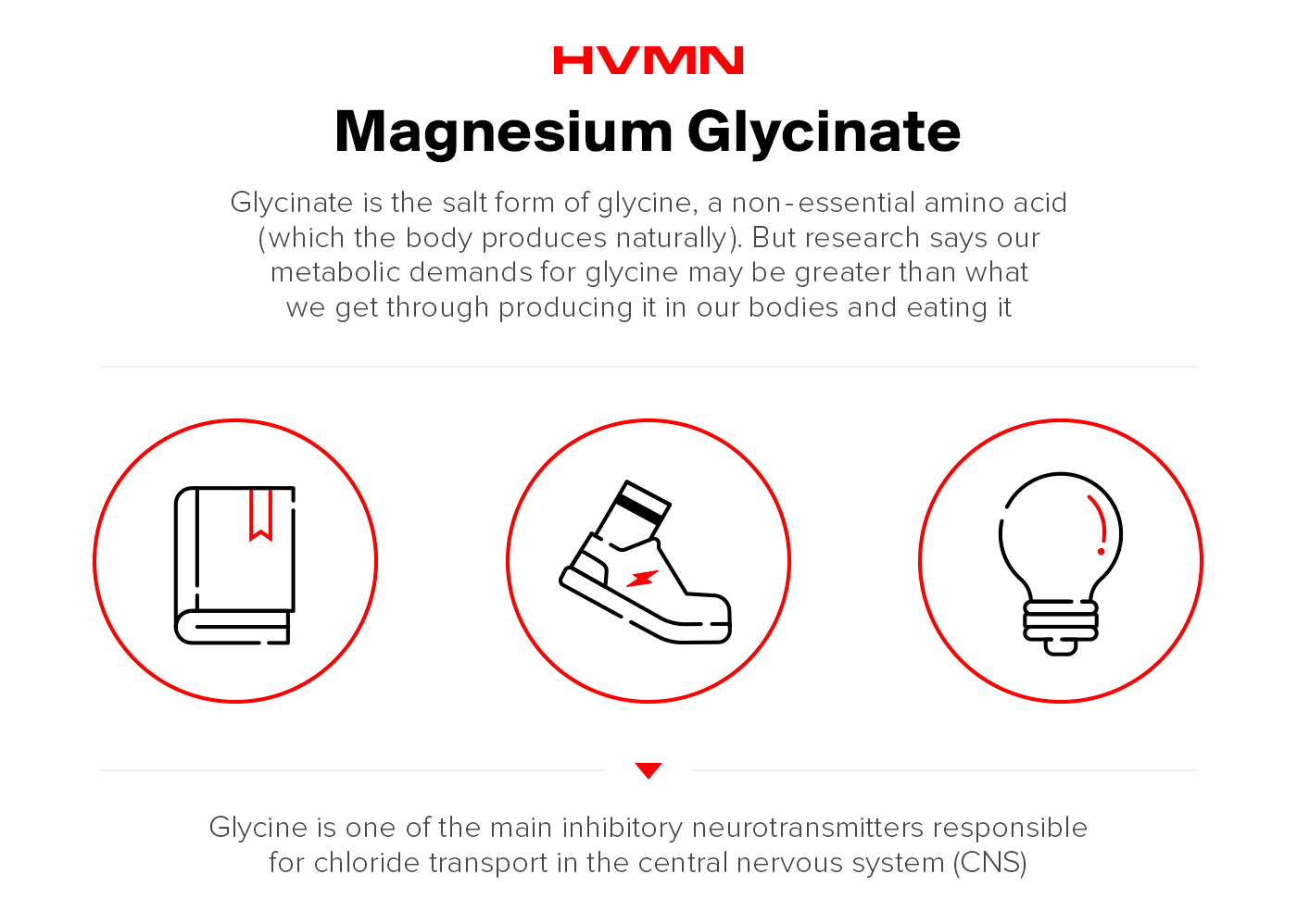 an illustration of a book, a runner's good and a lightbulb, showing all the benefits of magnesium glycinate
