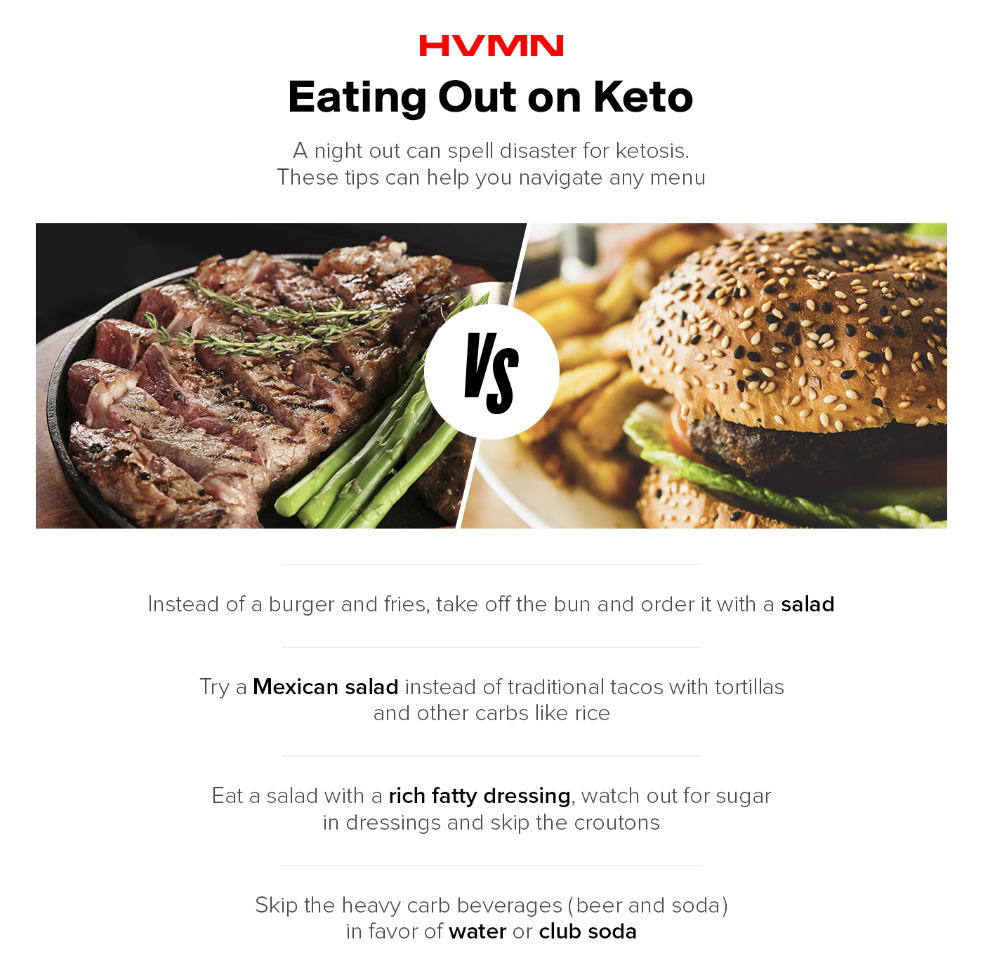 A steak next to a hamburger and fries, showing how to navigate a menu while on keto