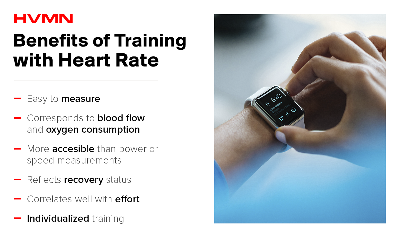 The benefits of HR training include ease of measurement, corresponds to blood flow and oxygen consumption, accessibility, reflects recovery, correlates with effort, and is individualized.