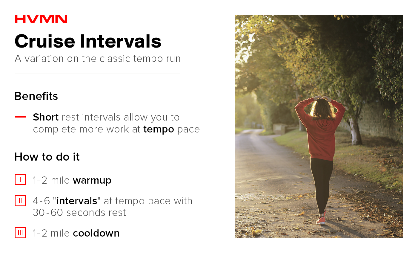 Cruise intervals are a variation on the classic tempo run and are a great marathon training workout.