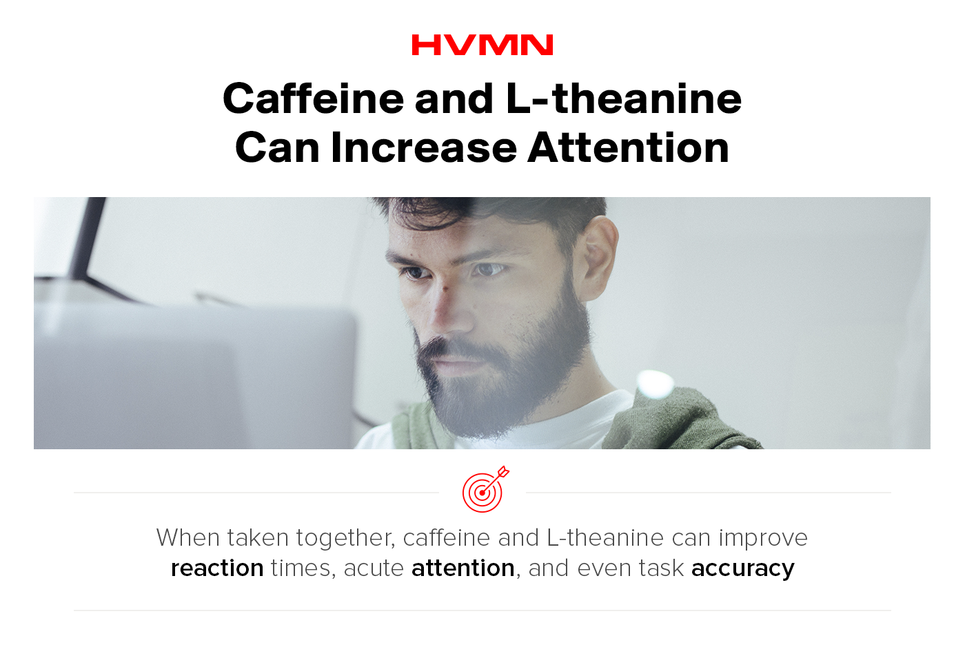 A man looking at his computed, deep in thought. This shows the benefits of using caffeine and l-theanine to increase attention.