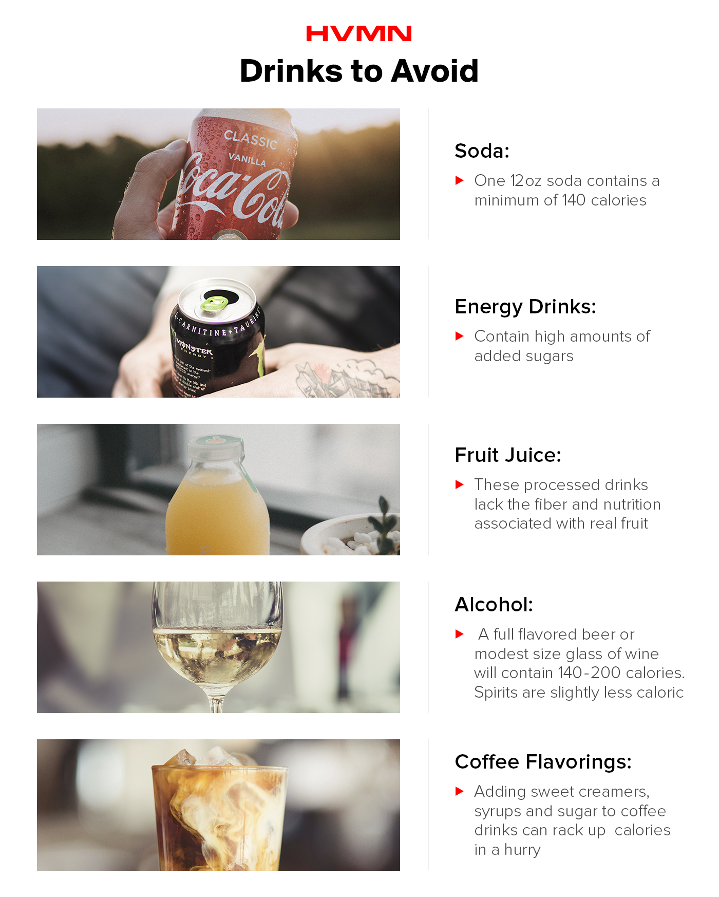 Images of soda, energy drinks, juices, wine and sugary coffee drinks, all beverages you should avoid on keto