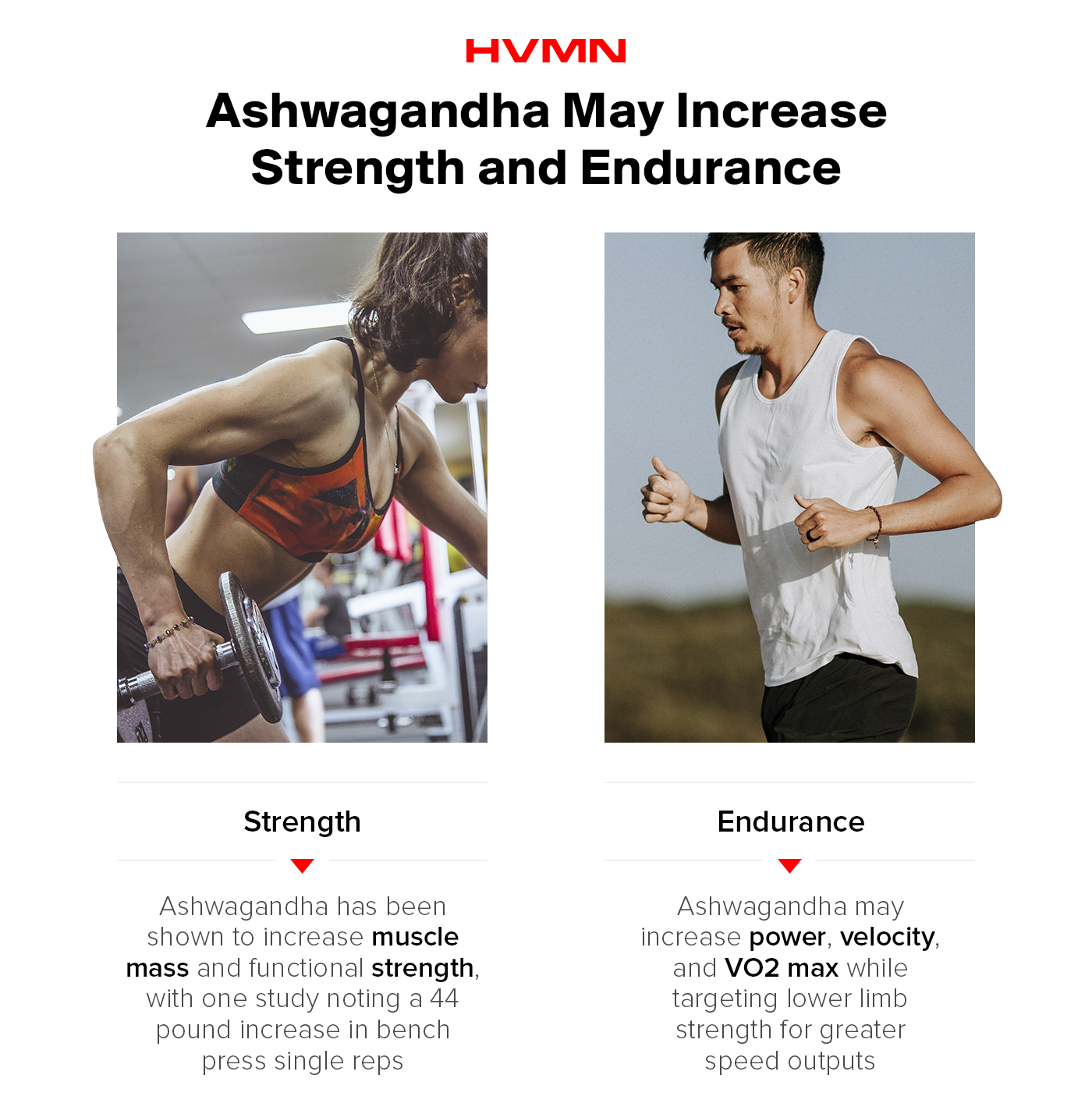 A female weight lifter doing a row, and a male runner on the trail, showing how ashwagandha may increase strength and endurance