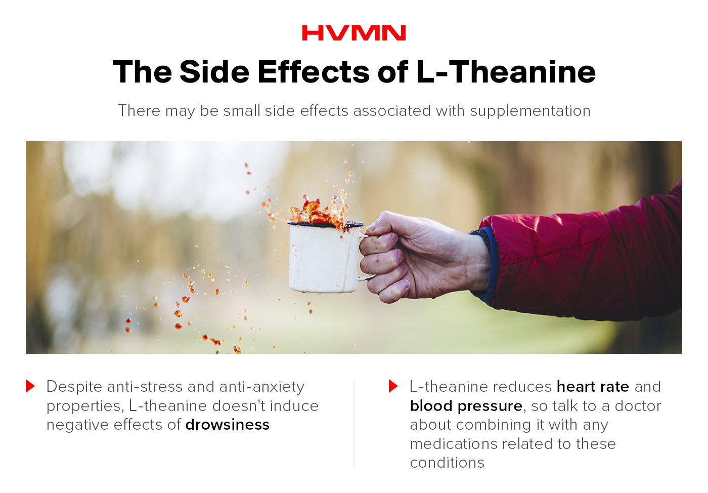 A cup of coffee being held by a hand with coffee splashing all over. This shows the side effects of l-theanine.