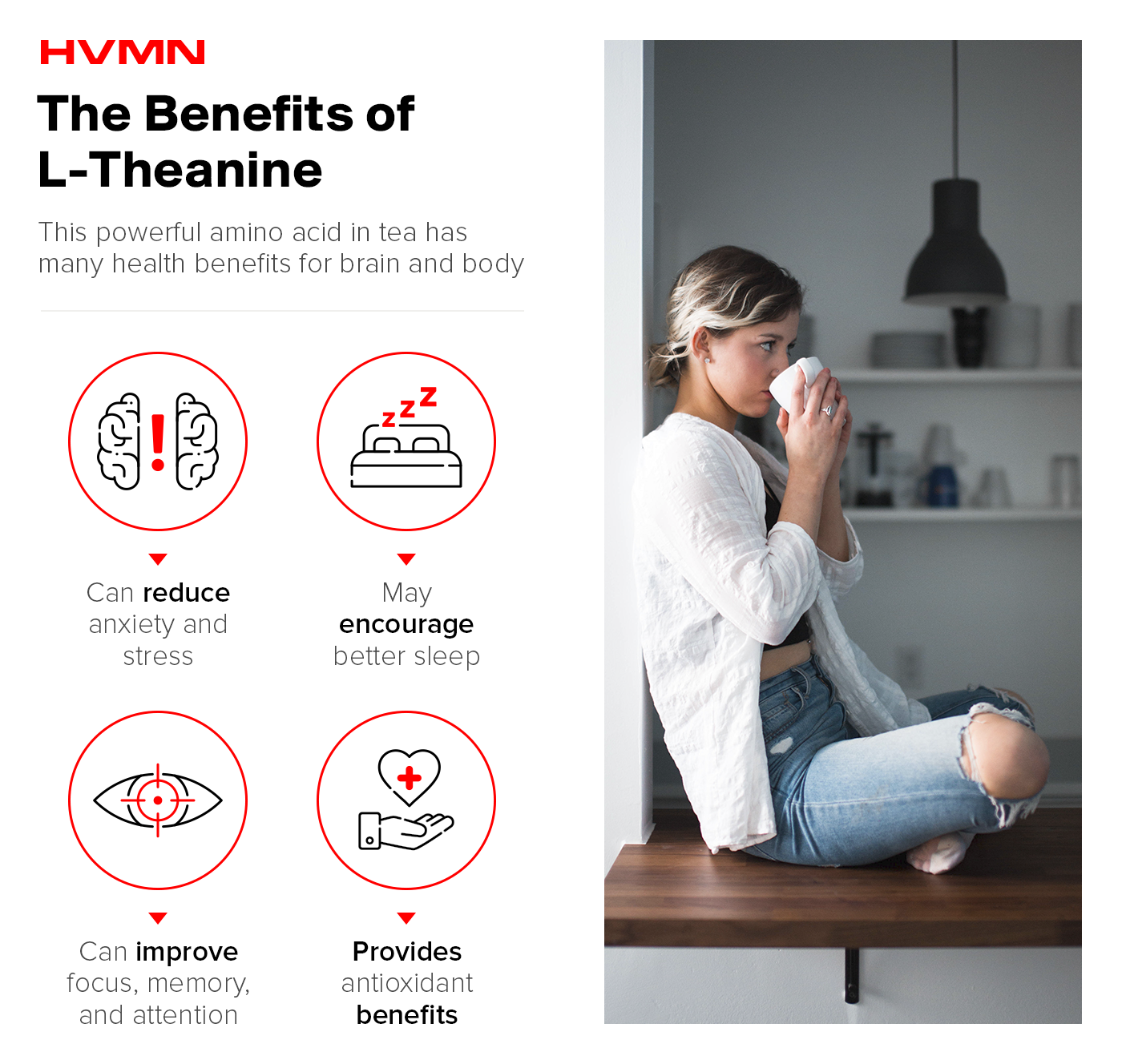 A woman, sitting down and sipping tea, next to drawn illustrations showing the benefits of l-theanine for brain and body