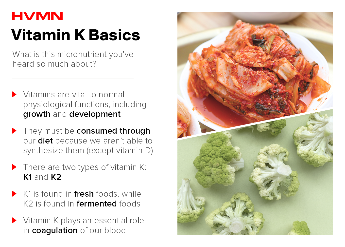An image of kimchee and broccoli, showing the basics of vitamin k in our foods