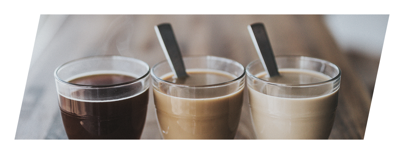 Three different images of cups of coffee, each in varying darkness, showing the amount of butter and other ingredients