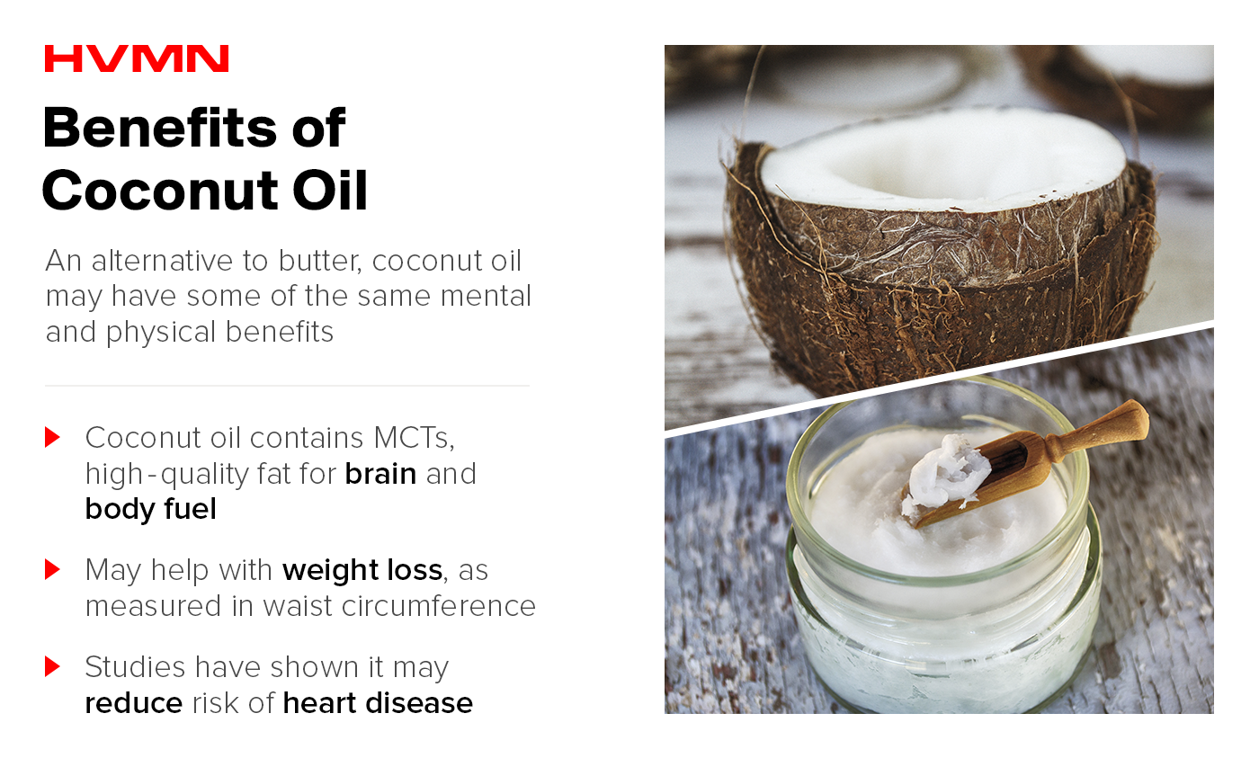 An image of a coconut and the coconut oil extracted from it, showing the benefits of coconut oil