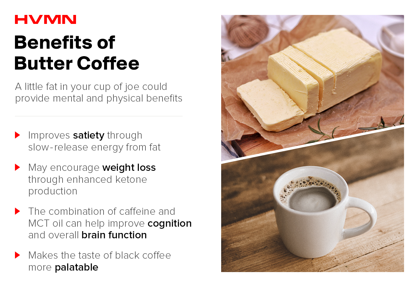 An image of a slab of butter next to a creamy cup of butter coffee, showing all the benefits of butter coffee