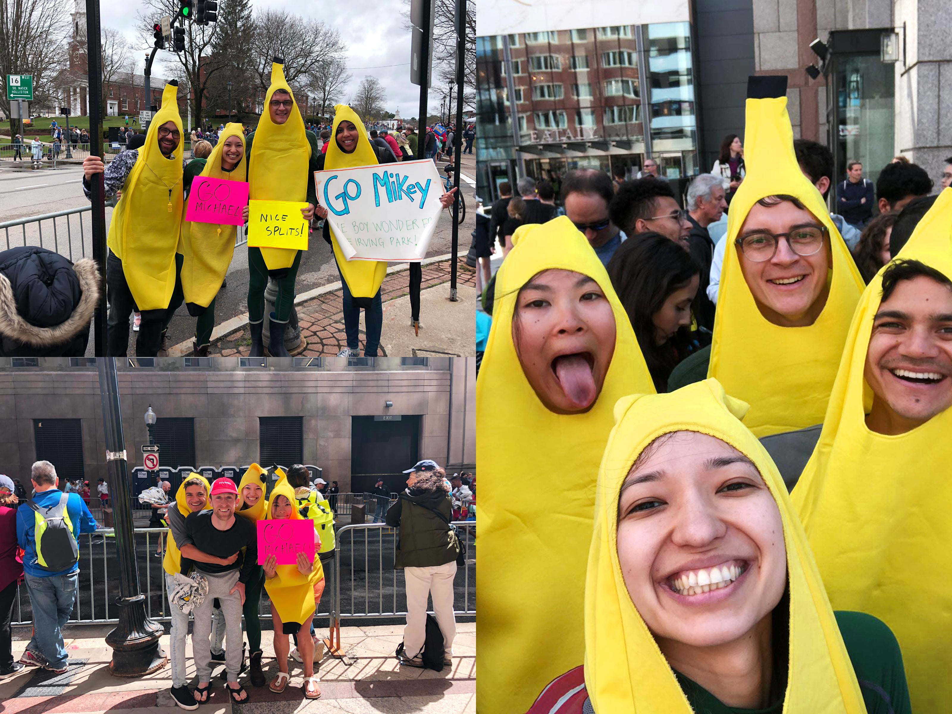 Collage of 3 photos of Michael Brandt's friends, dressed in banana outfits.
