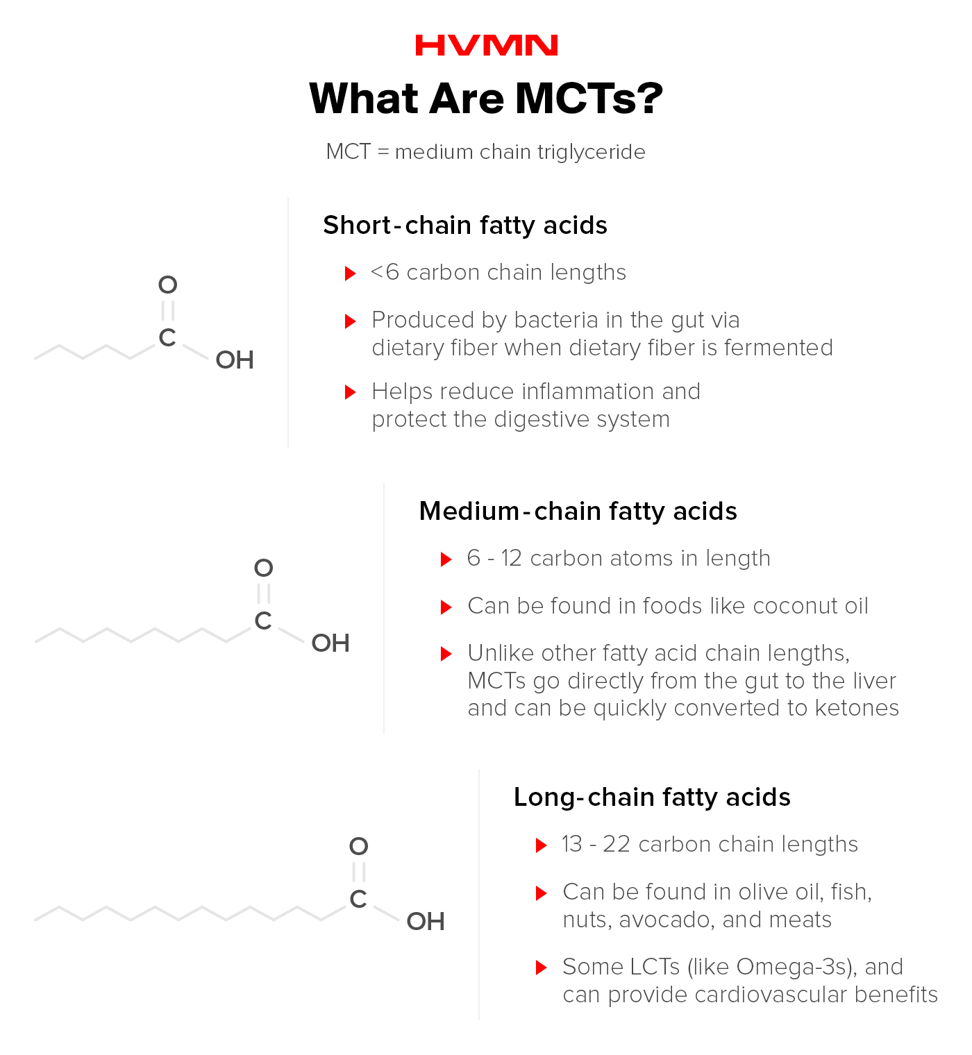 Images of the different chemical forms of MCT, showing their different chain lengths.