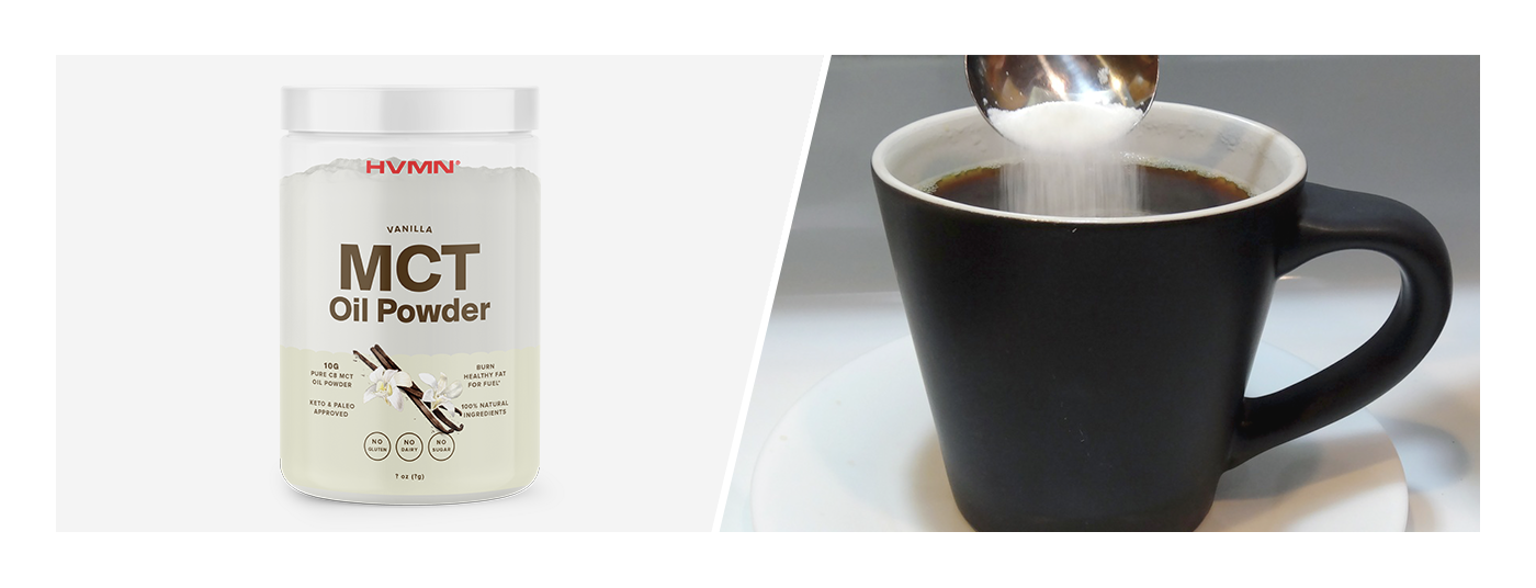 An image of HVMN's MCT Oil Powder next to an image of a coffee cup, with a spoon pouring powder into the cup