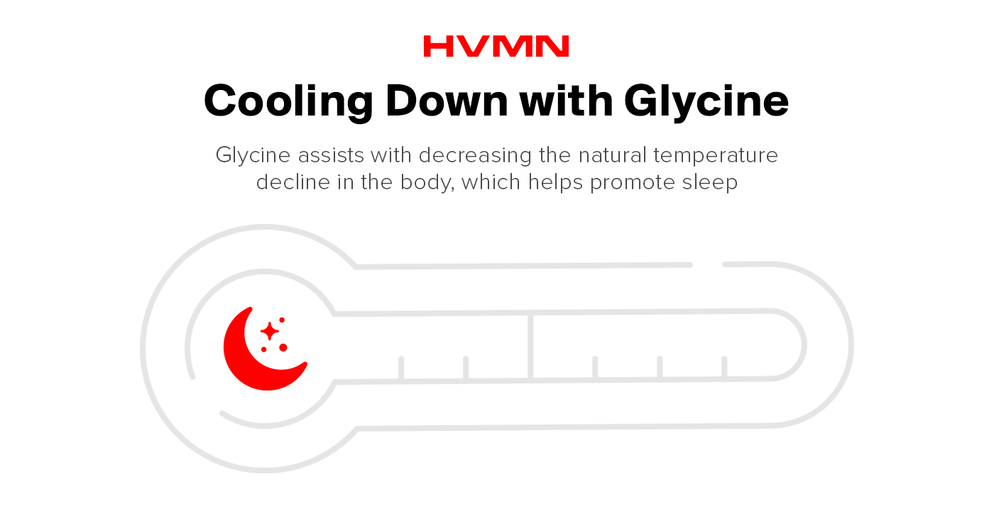 An illustration of a thermometer, showing how glycine cools you down to help you sleep.